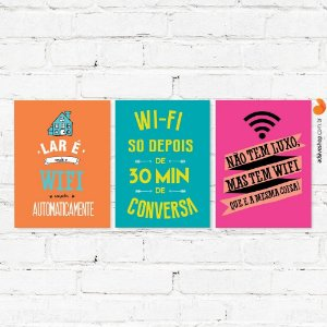 Kit Placas Decorativas Trio Wifi
