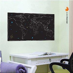 """Adesivo Decorativo """"Mapa Mundi Lousa"""""""