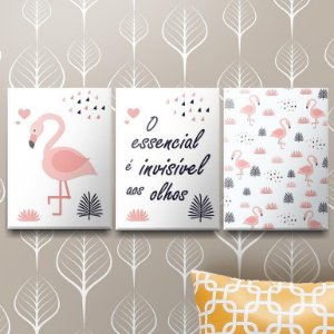 Placas Decorativas Pink Flamingo