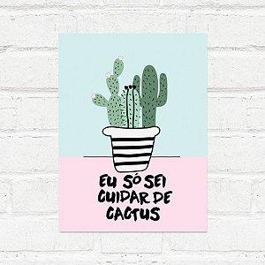 Placa Decorativa Cuidar Cactus