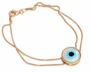 pulseira olho grego formato redondo - greek eye round shape