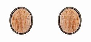 brinco oval amazonita bege - amazonite beige oval earring