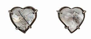 brinco coeur quartzo rutilado - coeur earring rutile quartz