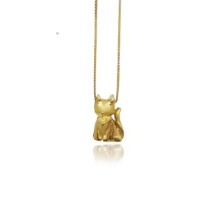 colar gato com gravação de nome - cat necklace with name engraving