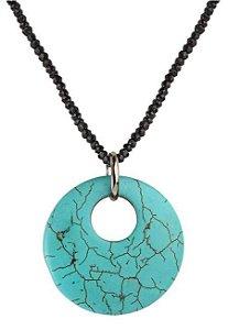 colar espinélios e turquesa reconstituída - spinels and reconstituted turquoise necklace