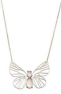 colar papillon quartzo incolor - papillon colorless quartz necklace