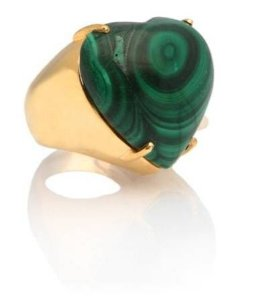 anel coeur malaquita - coeur malachite ring