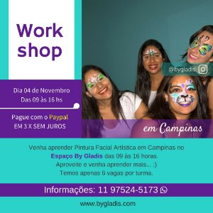 04 NOV em CAMPINAS | WORKSHOP DE PINTURA FACIAL INCIANTE COM 6 HORAS