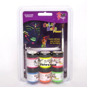 Cartela Tinta Líquida Fluorescente para pele Color Make | 6 cores Neon