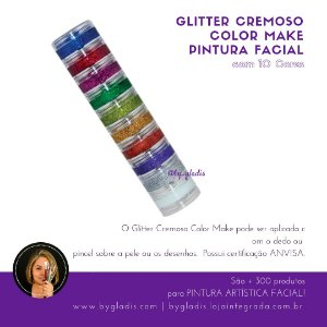 Torre Glitter Cremoso Color Make para Pintura Facial Color Make com 10 Cores