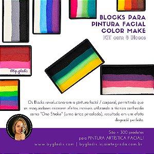 Kit 8 Cores - Blocks Color Make | Bloco Colorido para Pintura Artística Facial 30 gr