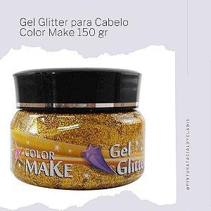 Gel Glitter para Cabelo Color Make 150 gr |Ouro - Dourado