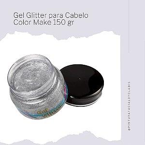 Gel Glitter para Cabelo Color Make 150 gr | Prata