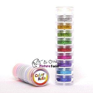 Torre Glitter Pó Cosmético Facial e Corporal Color Make | 10 Cores