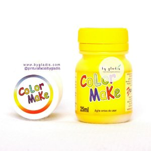 Tinta Líquida Pintura Facial e Corporal Color Make 25 ML |amarela - amarelo
