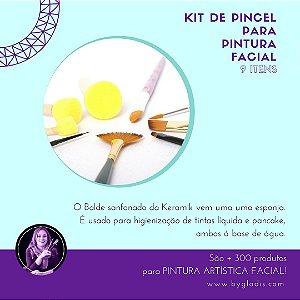 Kit Pincel e Batedor de Espuma Keramik Pintura Artística Facial | 9 ITENS