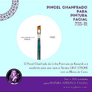 Pincel Chanfrado Keramik para Pintura Facial ONE STROKE | 735-12 Linha Premium
