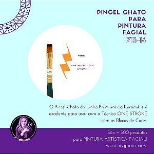Pincel Chato Keramik para Pintura Facial ONE STROKE | 715-14 Linha Premium