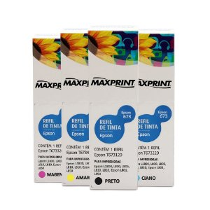 Kit 4 Tintas Epson L1800 | 673 | T673120 EcoTank Maxprint 100ml