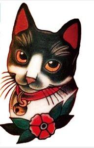 tatuagem temporária gato oldschool