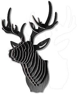 cabeça decorativa cervo laminada preta