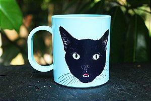 Caneca Plástico Gato Preto