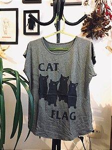 camiseta feminina catflag cinza