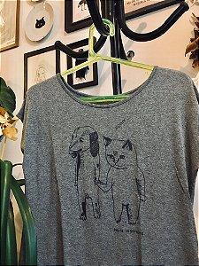 camiseta feminina adote mescla