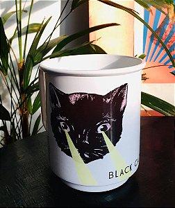 caneca alumínio esmaltado branca gato preto