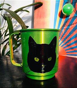 caneca alumínio verde gato preto