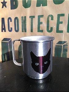 Caneca alumínio gato preto