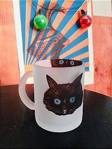 caneca vidro temperado fosco gato gordinho