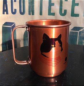Caneca alumínio bronze gatos