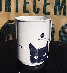 Caneca alumínio esmaltado branco gato preto