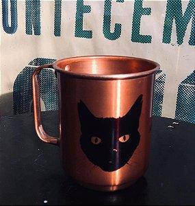 Caneca de alumínio bronze gato preto