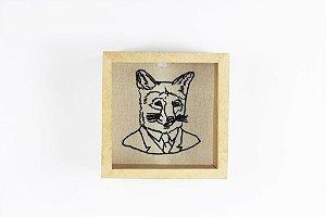 quadro raposa bordada à mão