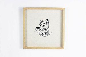 quadro grande gata bordada à mão