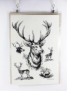 gravura em serigrafia cervo