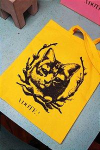 ecobag algodão amarelo gata