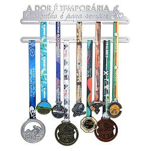 Porta Medalhas Mountain Bike - A dor é temporária, O orgulho é para sempre.