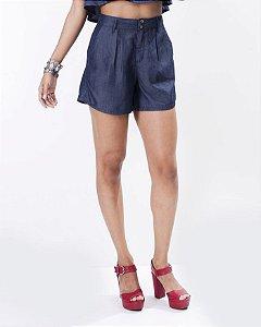 Short Alfaiataria Jeans Cintura Alta