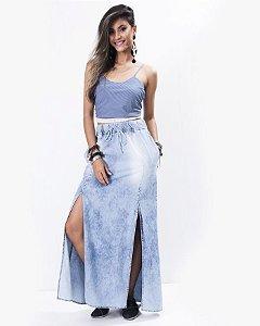 Saia  Longa  Jeans com 2 Fendas