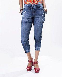 Calça Bomber Malha Jeans com Puidos