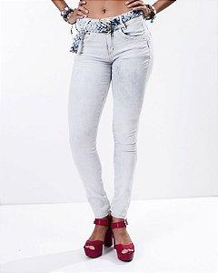 Calça Cigarrete Jeans Super Skinny com Cinto