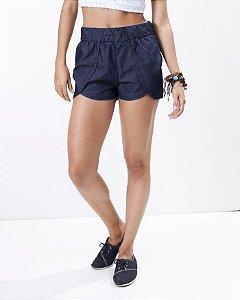 Short Jeans Elástico com bainha arredondada