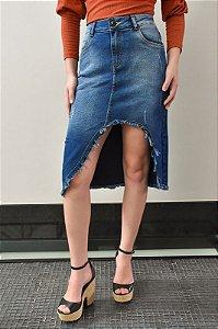 Saia Jeans Midi Diferenciada