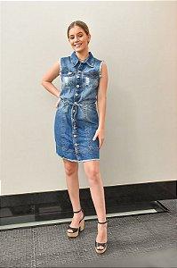 Vestido Jeans sem Manga Desfiado