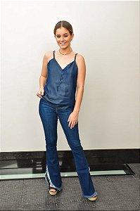 Blusa Jeans alça fina e botões jeans