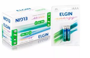 40 Pilhas Alcalinas Aaa Elgin Energy Lr3 1,5v Palito 10x4