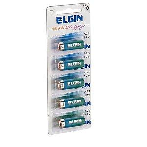Bateria Alcalina A 23 (cartela Com 5) Pilhas Baterias Elgin 12v A23 Controle Portão Alarme